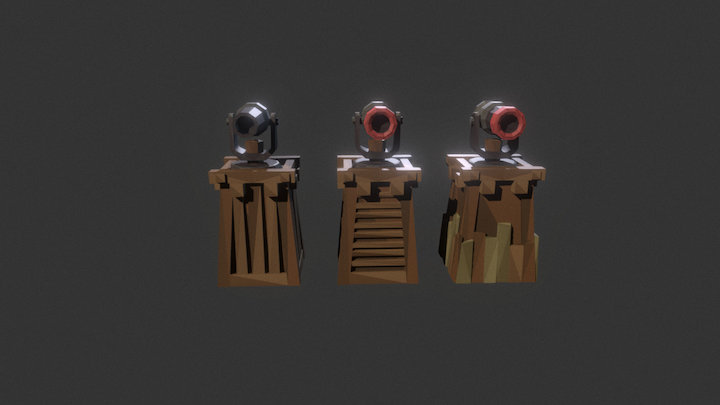 Low Poly Tower Defense Turret Canon.unity 3D Model