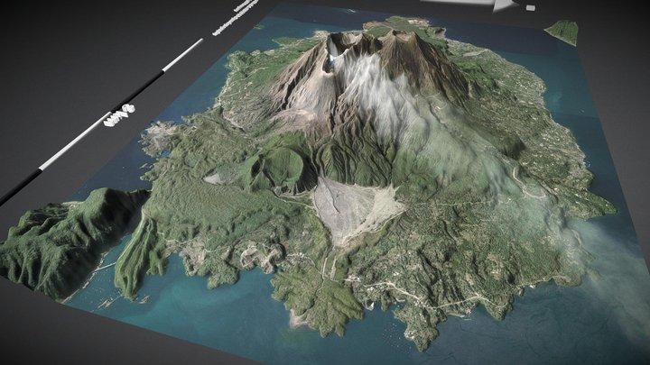 Sakurajima, Kyushu, Japan (x2) 3D Model