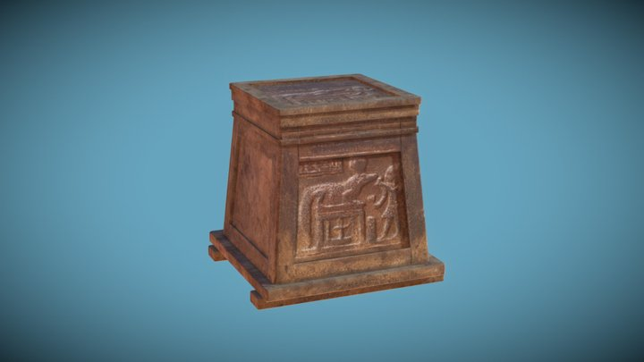 Egyptian Style Treasure Chest [open/close] 3D Model