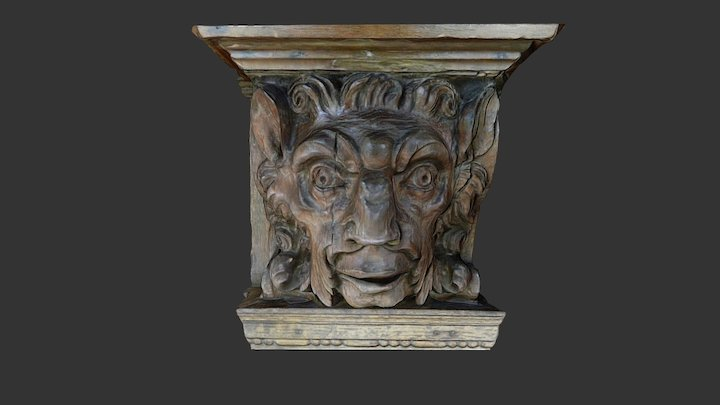 Wooden head from above a fireplace. 3D Model