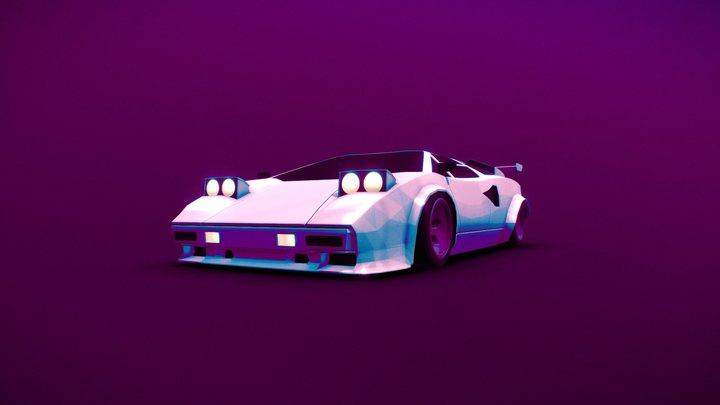 Lamborghini Countach Low Poly 3D Model