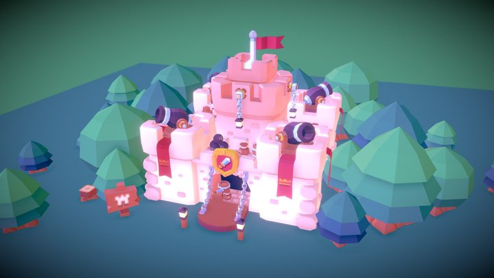 Low Poly Castle 3D Model