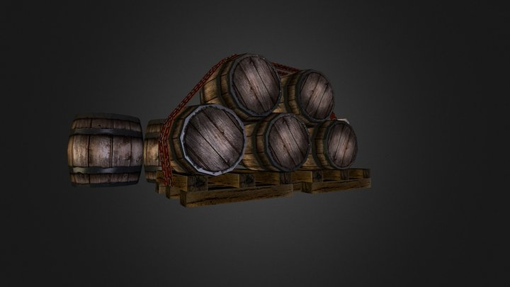 Props_WoodCask 3D Model