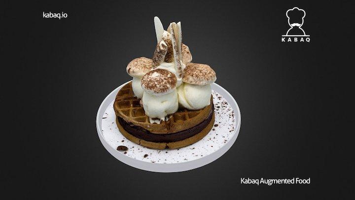 Waffle Ice Cream Cake 3D Model