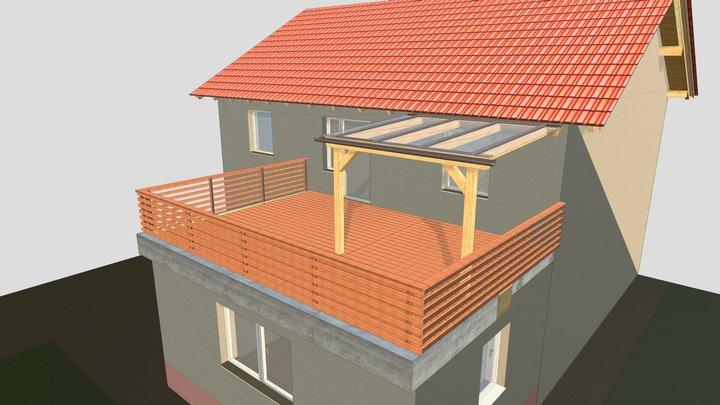 Terrassendeck mit Überdachung Traunreut 3D Model