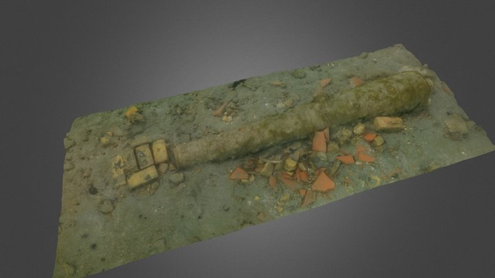 The TRB-2 Cannon, Rockley Bay, Tobago 3D Model