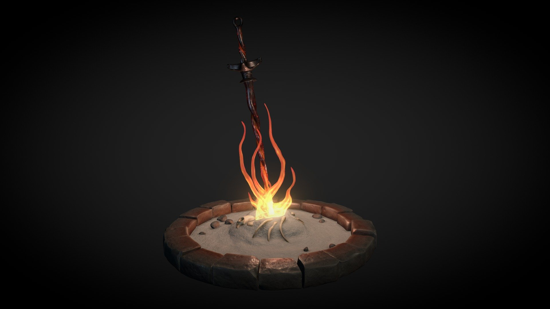 Bonfire Lit 3d Model By Guillaume Biju Duval Guillaume Biju