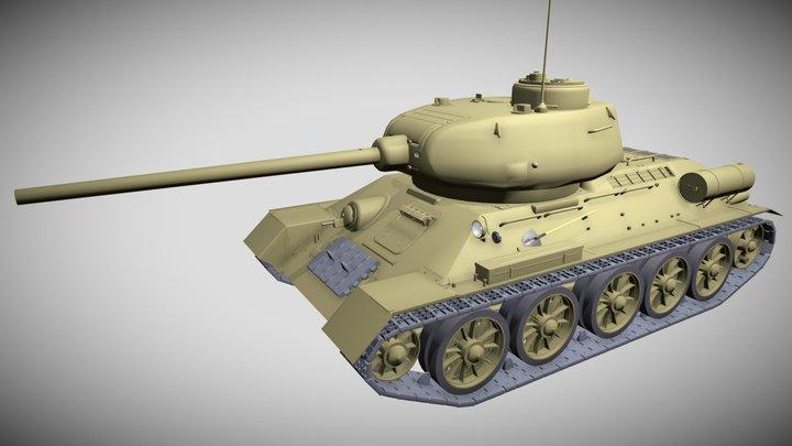 T-34/85 Tank Model 3D Model