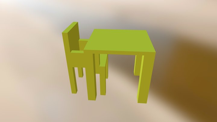 Chair And A Table 3D Model