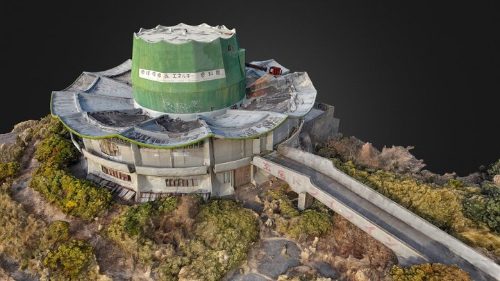 Aerial drone scan of an abandoned restaurant 3D Model