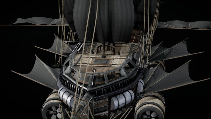 Animated Flying Pirate Ship 3D Model