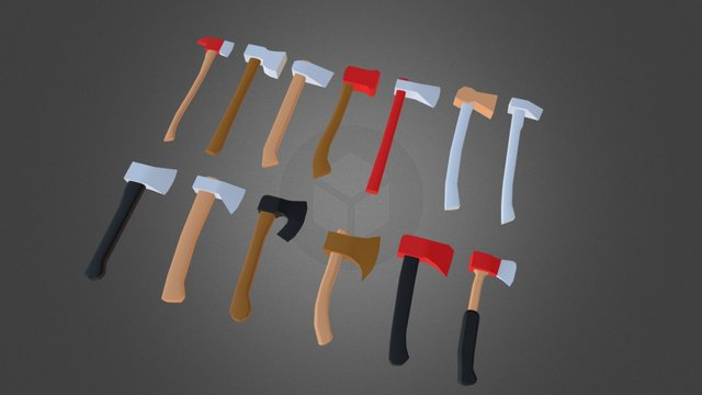 Axes and Hammers Pack - Low Poly 3D Model