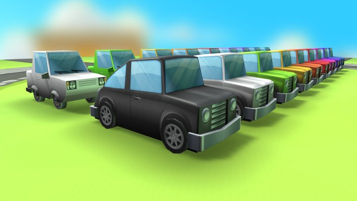 LOW POLY - Toon Cars 3D Model