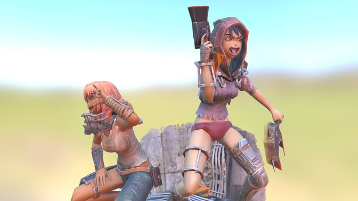 Female Hyahhars diorama01 3D Model