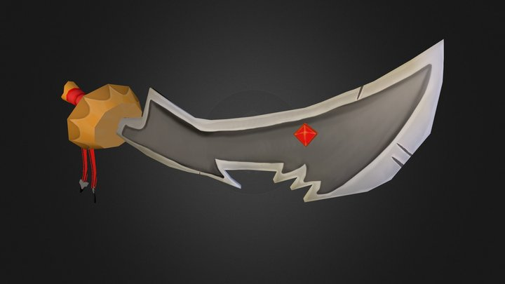 Low Poly Hand Painted Shark Sword 3D Model