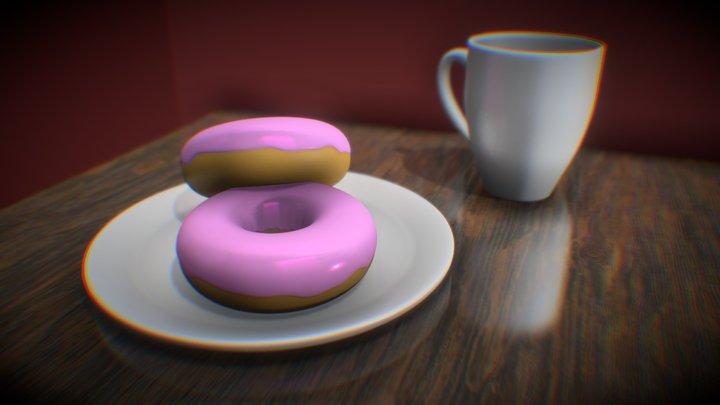 Donuts and mug 3D Model