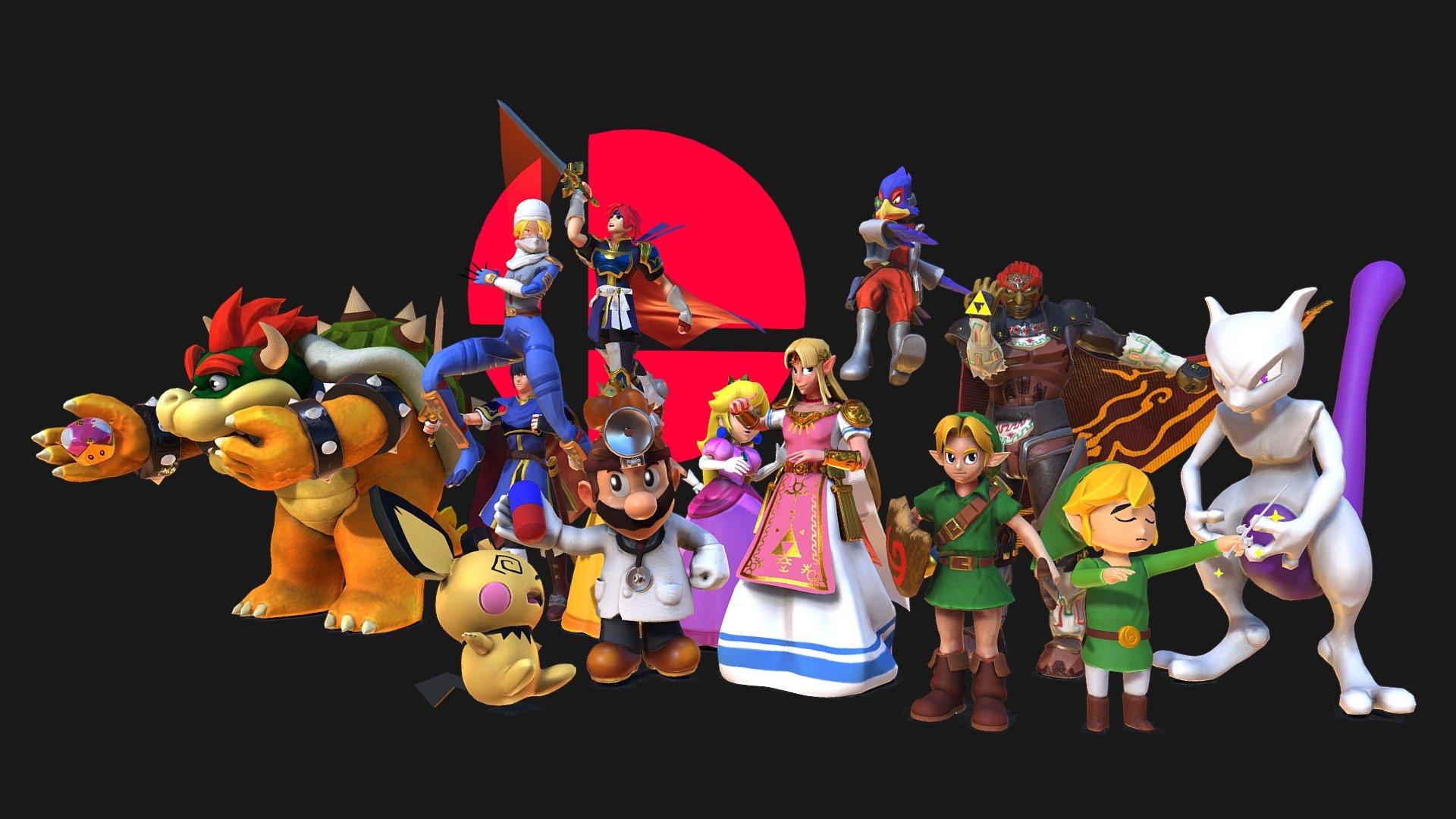 Super Smash Bros Melee Fighters 3d Model By Giru Giru