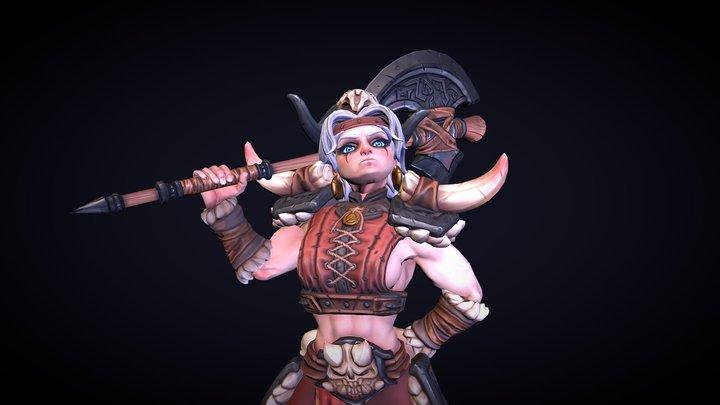 Girl barbarian 3D Model
