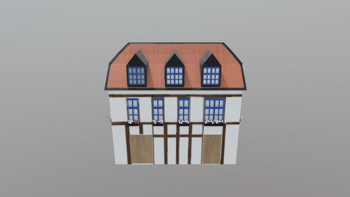 German Style Building 3D Model