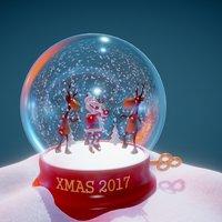Santa & deer dancing [animated] 3D Model