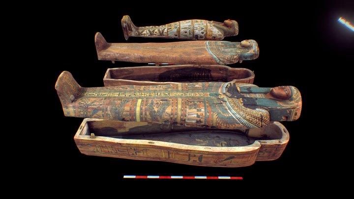 Coffins of Pa-di-mut, Mut-iy-y, and Ankh-Khonsu 3D Model