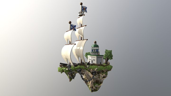 Town Clock Ship 3D Model