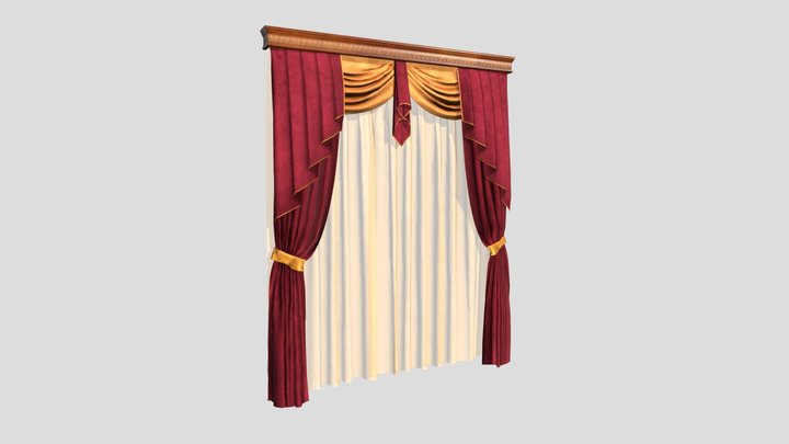 №602 Curtain  3D low poly model for VR-projects 3D Model