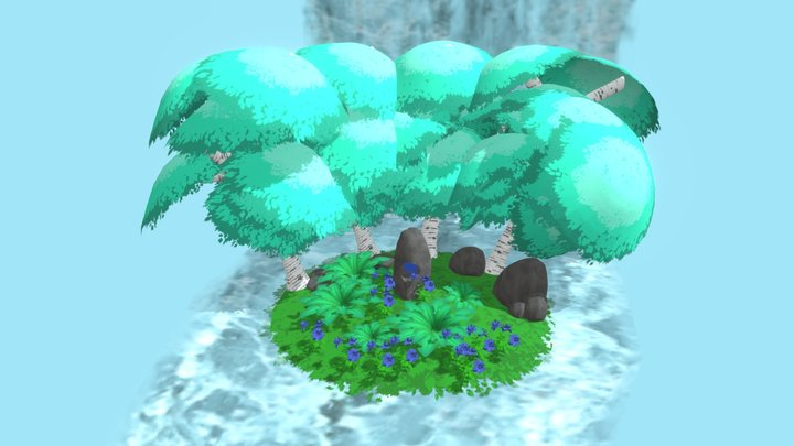 Waterfall Forest 3D Model