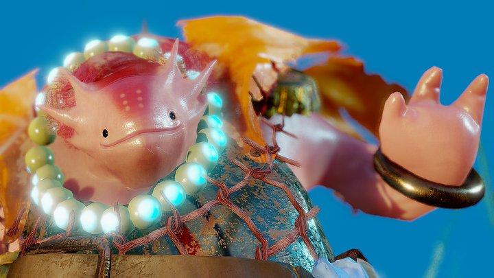 The King Axolotl - Artstation Challenge 3D Model
