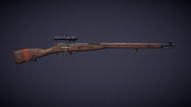 Mosin Nagant with PU scope 3D Model