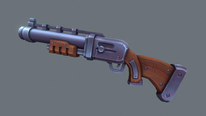 Stylized Shotgun 3D Model