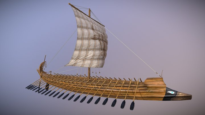 Ancient Greek Galley - Penteconter 3D Model