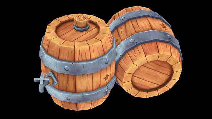 BARRIL LOW POLY 3D Model