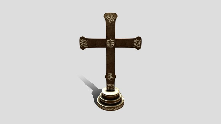 Medieval Altar Cross 3D Model