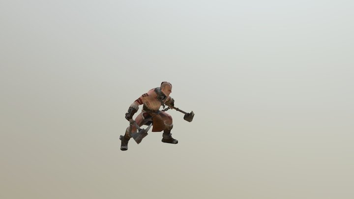 imprisoned warrior - jump attack 3D Model