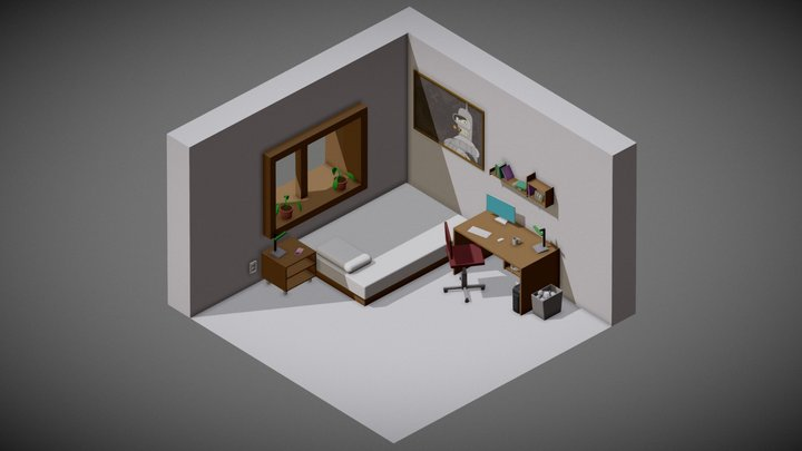 Isometric BenderRoom | Low Poly | Free 3D Model
