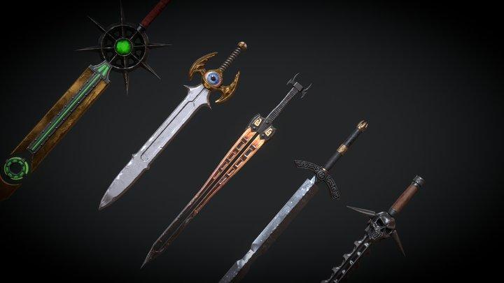 5 Fantasy Sword - PBR- Low Poly 3D Model