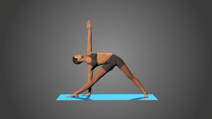 Yoga Pose Utthita trikonasana full yoga 3D Model