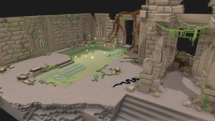 Hidden temple ruins 3D Model