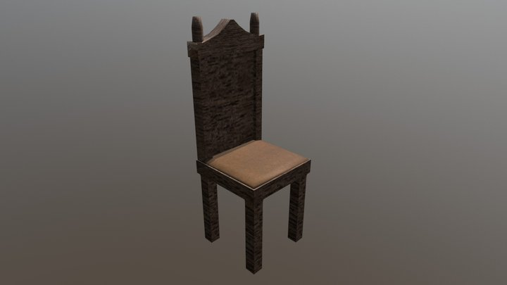 Wooden simple chair 3D Model
