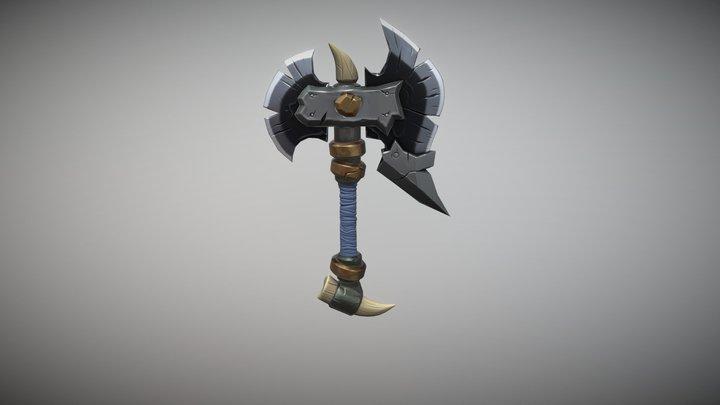 Stylized Warcraft Axe 3D Model