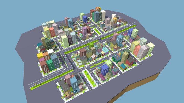 LowPoly Fantasy City 3D Model