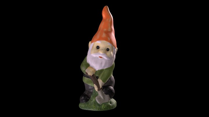 Lawn Gnome With Shovel 3D Model