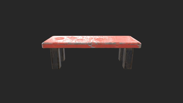 Red Iron chair or table low poly 3D Model