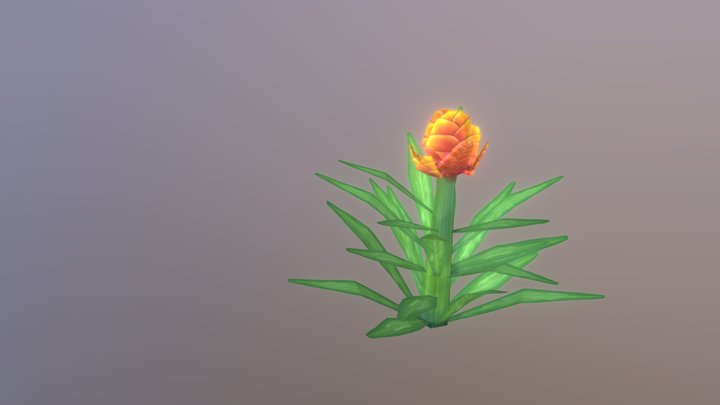 Small Stylized Plant with Flower 3D Model