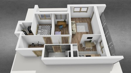 Apartment with furniture 3D Model