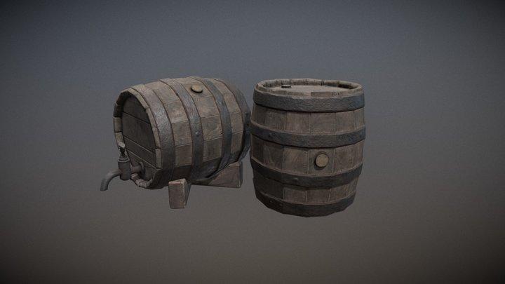 Small Barrel + Faucet + Stand 3D Model