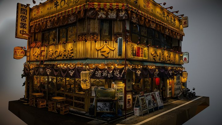 Japanese restaurant at night photogrammetry scan 3D Model