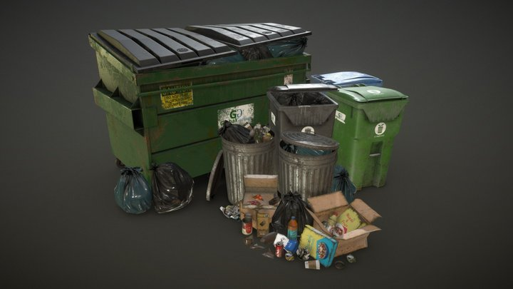 Urban Trash Pack Vol 3 - Low Poly 3D Model