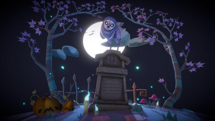 Graveyard Owl Diorama [Animated] 3D Model